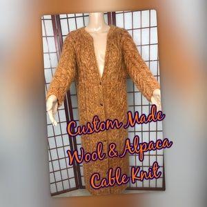 Wool & Alpaca Cable Knit Full Length Sweater/Coat